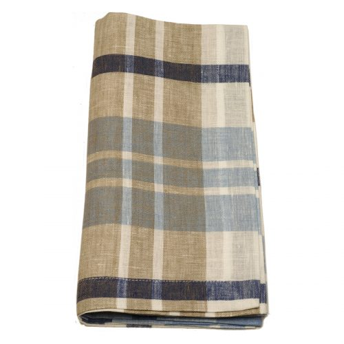 Tina Chen Designs Napkin Beige and Blue Plaid