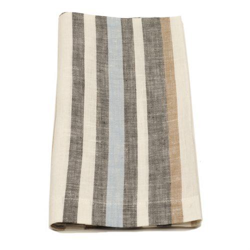 Tina Chen Designs Napkin Grey Aqua Beige White Stripe