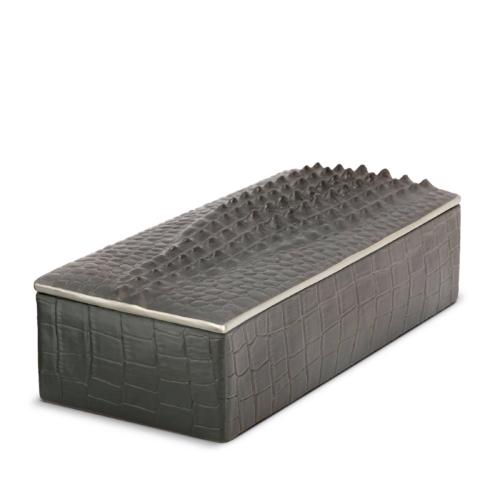 L'Objet Crocodile Rectangular Box Platinum