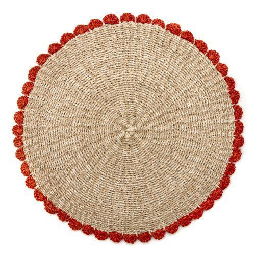 Deborah Rhodes Placemats BORDER TAHITIAN Coral