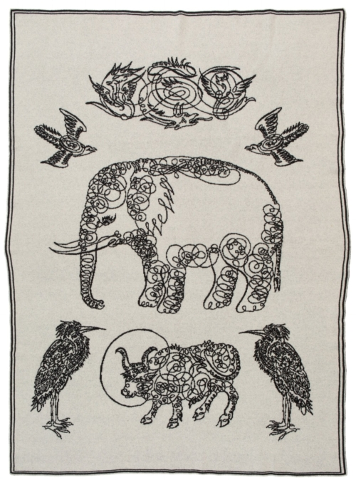 Saved NY-ELEPHANT & FRIENDS-Cashmere Throw