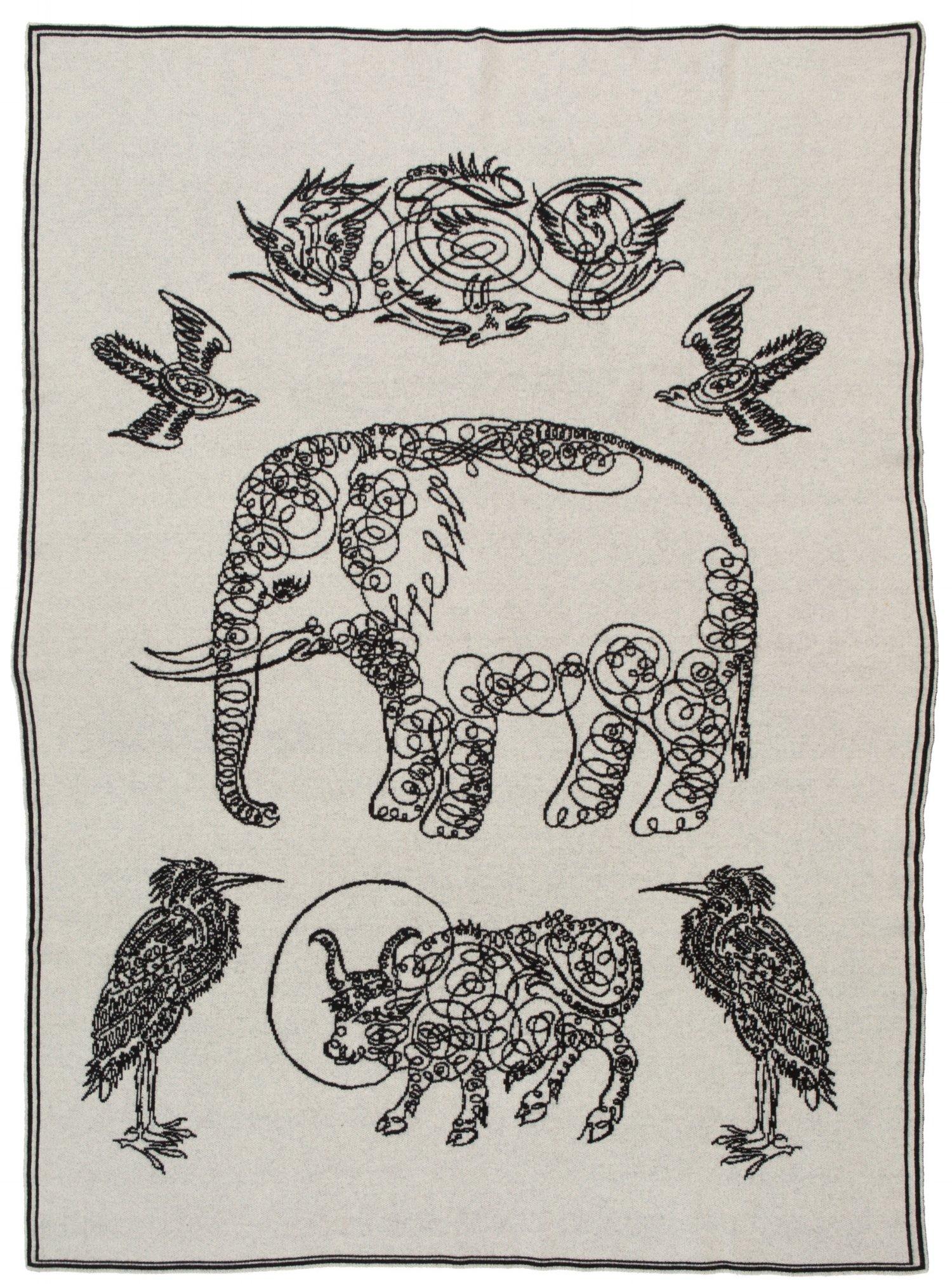 Saved NY-ELEPHANT & FRIENDS-Cashmere Throw