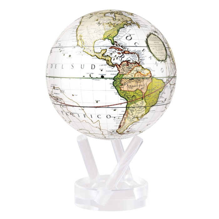 ANTIQUE TERRESTRIAL WHITE MOVA GLOBE 4.5""