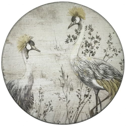 Nicolette Mayer-CRESTED CRANE SILVER GOLD ROUND PLACEMAT