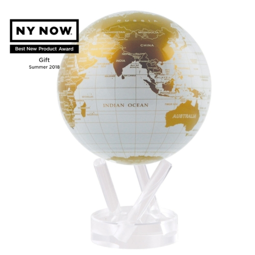 WHITE AND GOLD MOVA GLOBE 4.5""