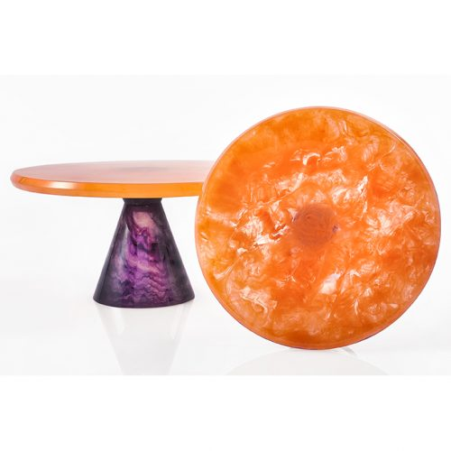 Lily Juliet Cake Stand Orange With Violet Base