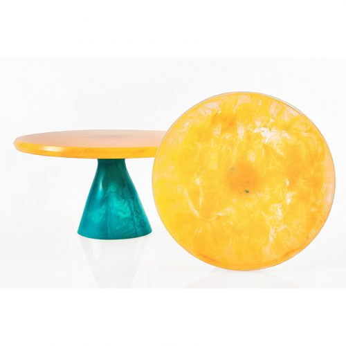 Lily Juliet Cake Stand Yellow With Turquoise Base