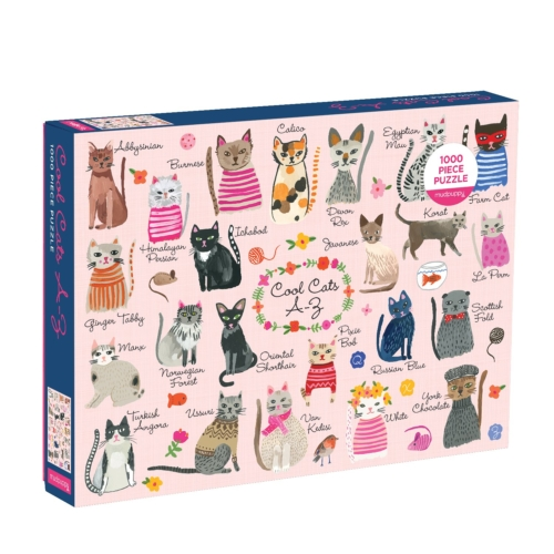 Galison Puzzle-Cool Cats A-Z 1000 Piece