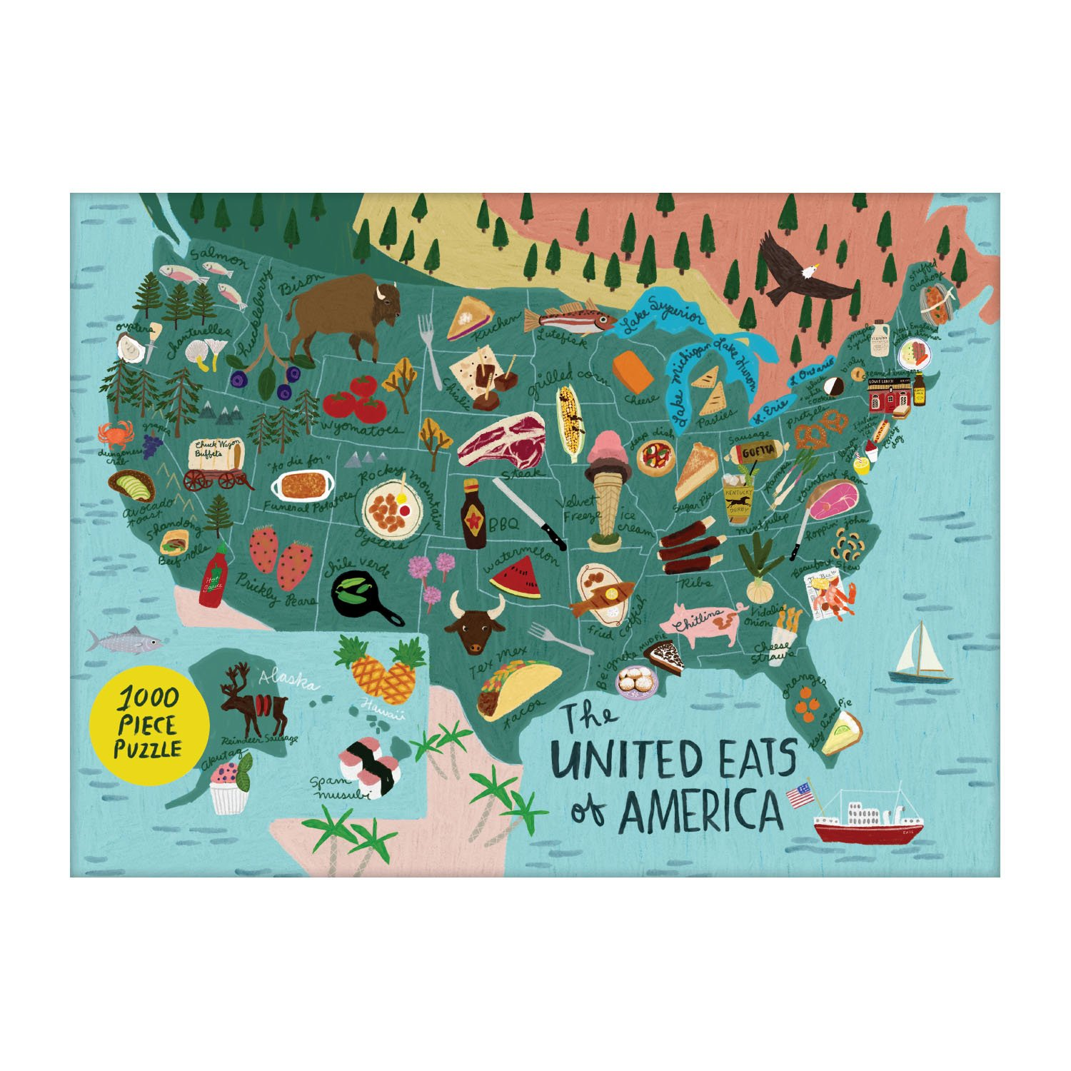 Galison Puzzle-Anne Bentley United Eats of America 1000 Piece