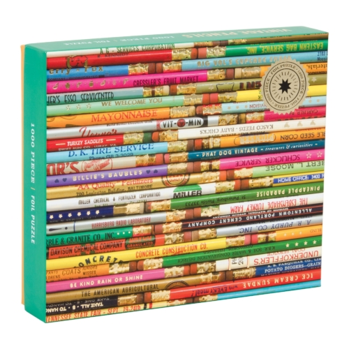 Galison Puzzle-Phat Dog Vintage Pencils 1000 Piece Foil Stamped