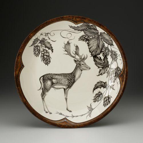 Laura Zindel Small Round Platter: Fallow Buck