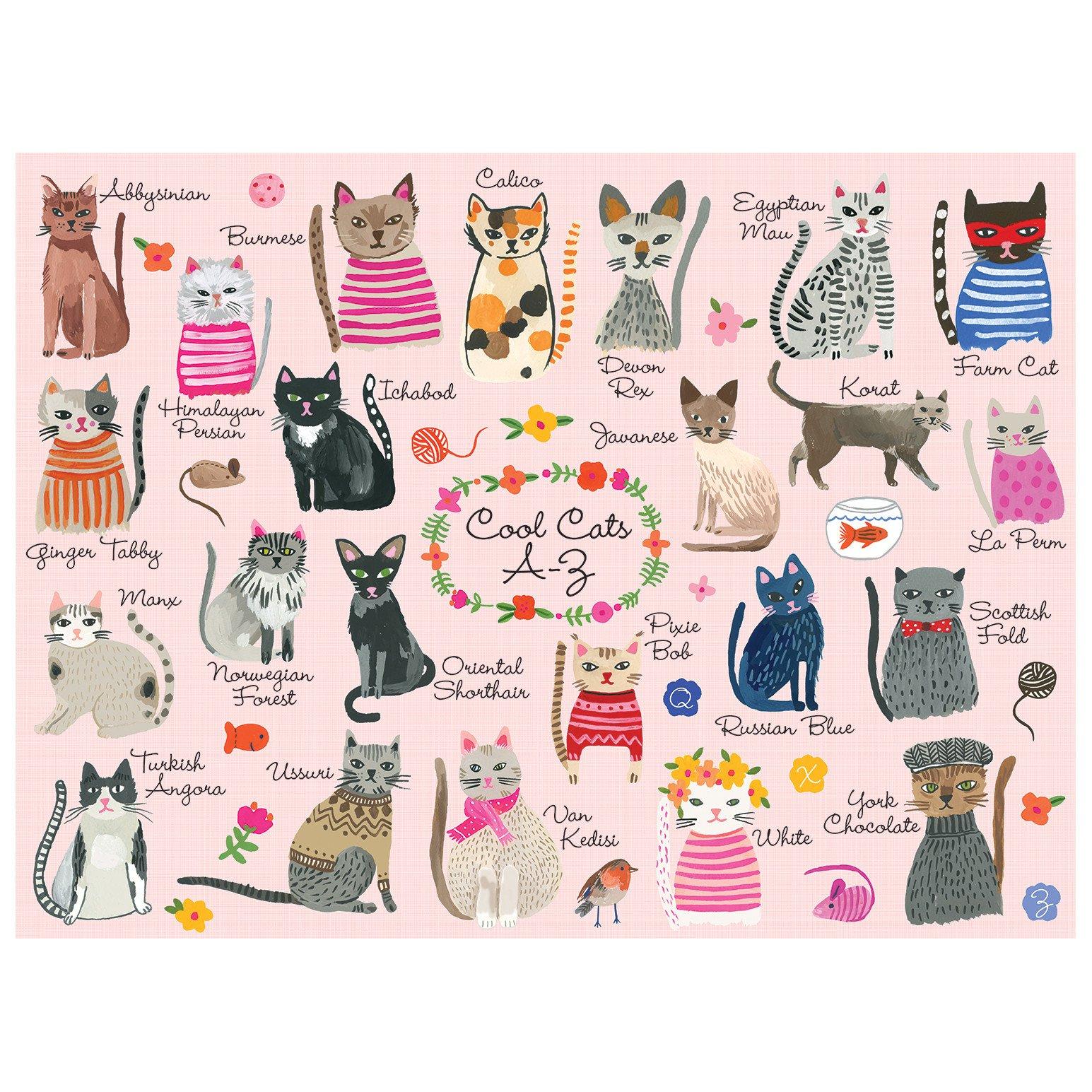 Galison Puzzle-Cool Cats A-Z 1000 Piece