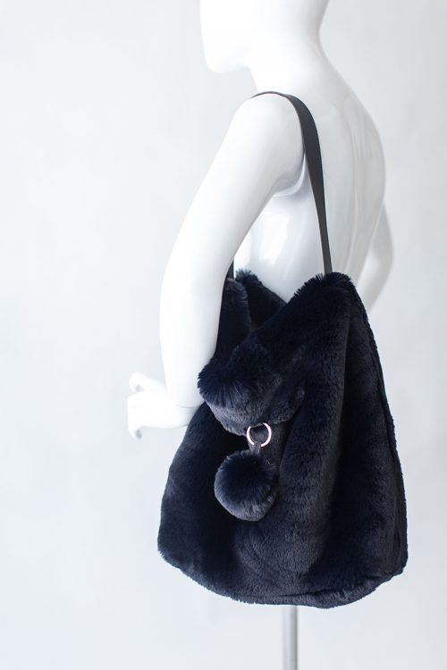 Evelyne Prelonge Faux Fur Bag - Navy Blue