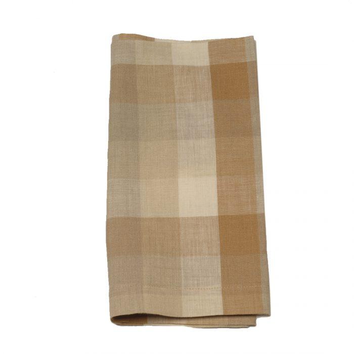 Tina Chen Designs Napkin Tan and Rust Check