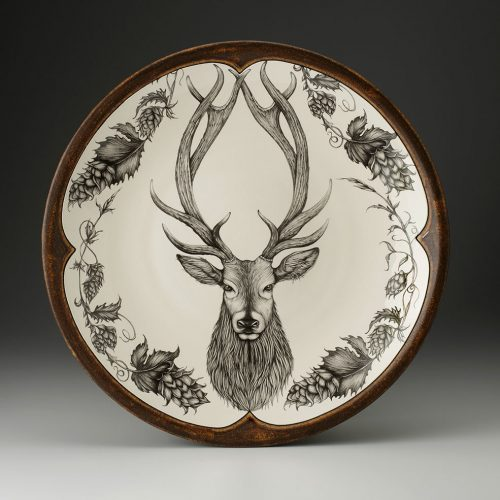 Laura Zindel Large Round Platter: Red Stag