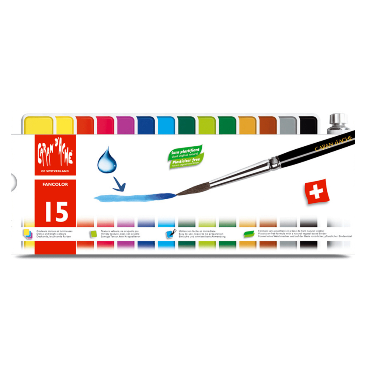 Caran d'ache - FANCOLOR - 15 COLOURED GOUACHE TABLETS