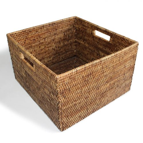Matahari Rattan Square Open Storage Basket w/ Cutout Handle - Antique Brown
