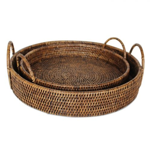 Matahari Rattan Round Tray with Loop Handles