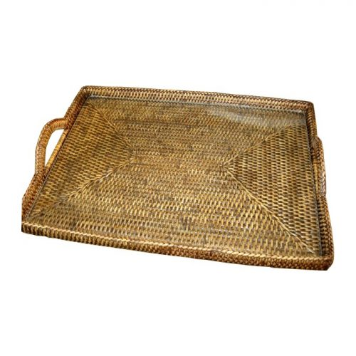Matahari Rattan Glass Tray with Handles (Large)