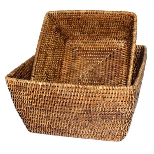 Matahari Rattan Square Storage Basket Set of 2