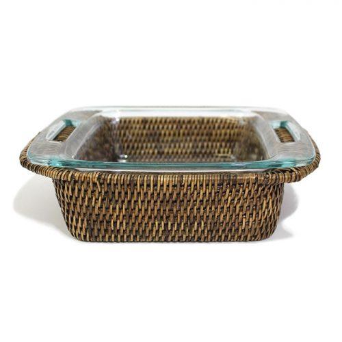 "Matahari Rattan Square 8"" inch Pyrex Bakeware Tray"