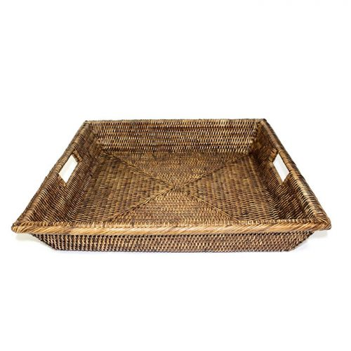 Matahari Rattan Square Angle Tray with Cutout Handles