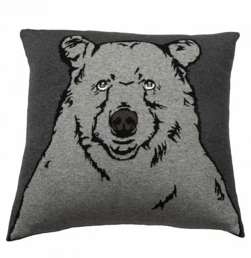 "Rani Arabella CASHMERE BLEND BEAR PILLOW: 21"" X 21"": ANTHRACITE-GRAY"