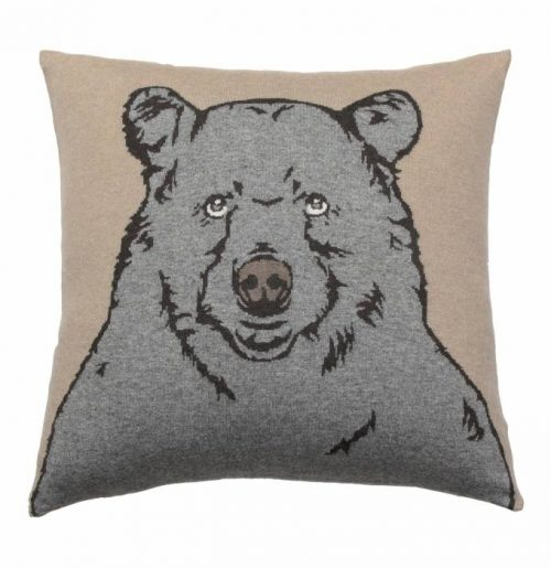 "Rani Arabella CASHMERE BLEND BEAR PILLOW: 21"" X 21"": BEIGE-GRAY"