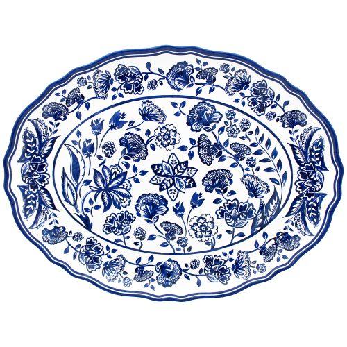 """Le Cadeaux-Jardin Blue Oval Platter 16"""""""