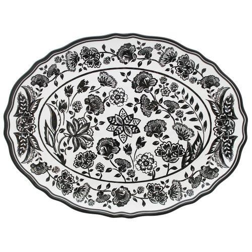"Le Cadeaux-Jardin Black Oval Platter 16"""