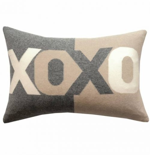 "Rani Arabella XOXO PILLOW: 16"" X 24"": GRAY-SAND-IVORY"