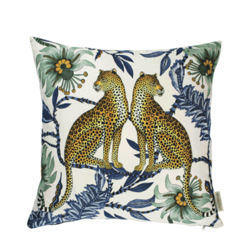 Ardmore Lovebird Leopard Tansanite Cotton Pillow