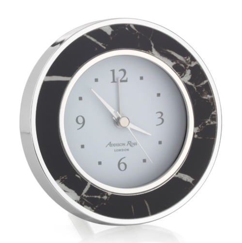 Addison Ross Black Marble Silver Alarm Clock