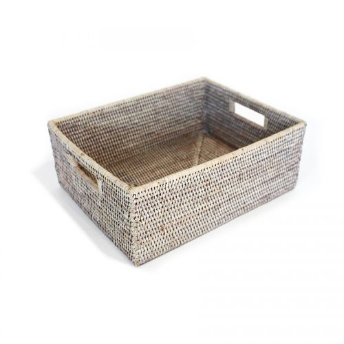 Matahari Rattan Rectangular White Wash Everything Basket