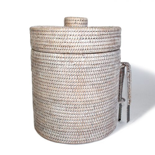 Matahari Rattan Round White Wash Ice Bucket w/ Thermos Liner