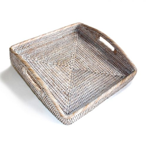 Matahari Rattan Square Morning Tray White Wash