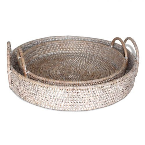 Matahari Rattan Round Tray with White Wash Loop Handles