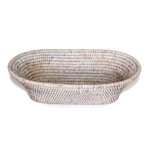 Matahari Rattan Oval Narrow White Wash Bread Basket