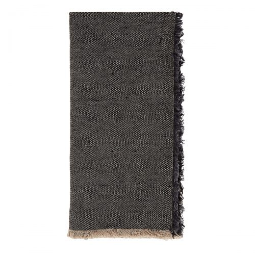 Deborah Rhodes Napkin Fringed Linen-Cotton Black