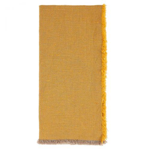 Deborah Rhodes Napkin Fringed Linen-Cotton Orange
