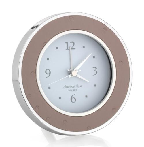 Addison Ross Blush Ostrich Silver Alarm Clock