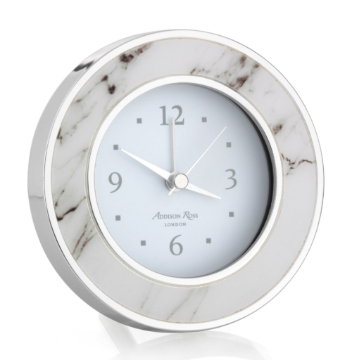 Addison Ross White Marble Silver Alarm Clock