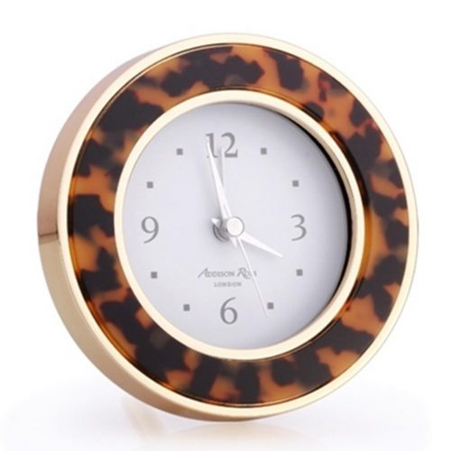 Addison Ross Tortoiseshell & Gold Alarm Clock