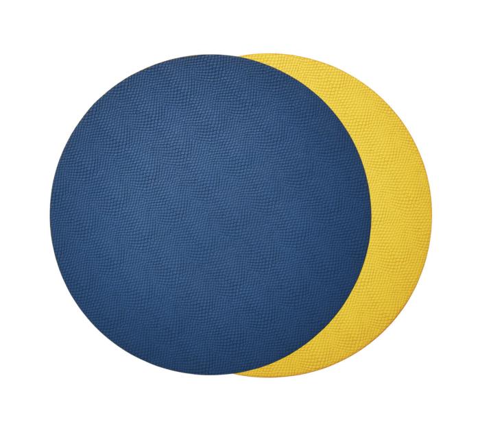 Kim Seybert VIPER REVERSIBLE Placemat BLUE & YELLOW