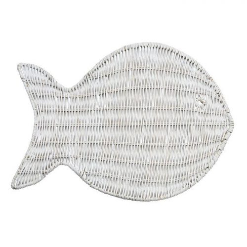 Deborah Rhodes Placemats WICKER FISH White
