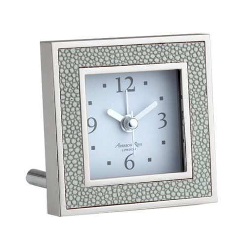 Addison Ross Grey Shagreen Square Alarm Clock