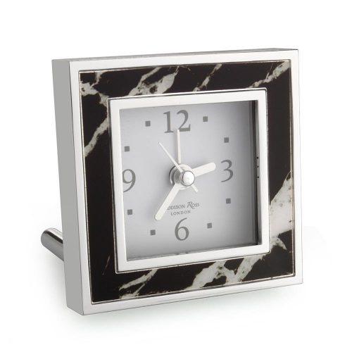 Addison Ross Black Marble Square Alarm Clock