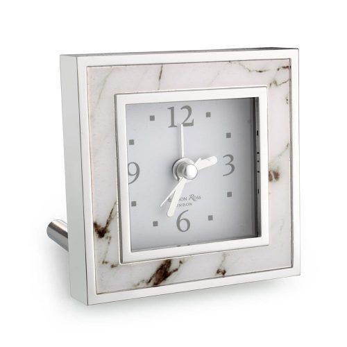 Addison Ross White Marble Square Alarm Clock