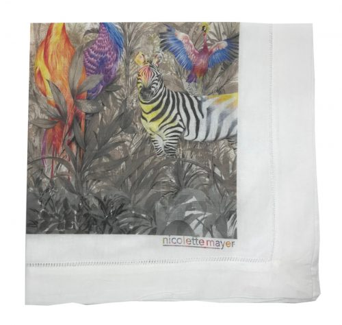 Nicolette Mayer-ARCADIA TIGER AND ZEBRA SCENE 22X22 HEMSTITCH NAPKIN