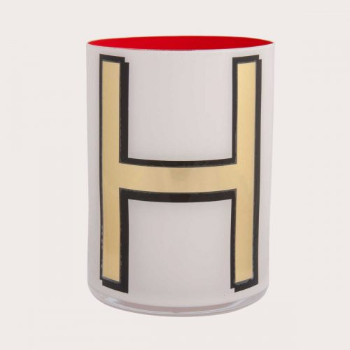Bridie Hall ALPHABET BRUSH POT – H – WHITE